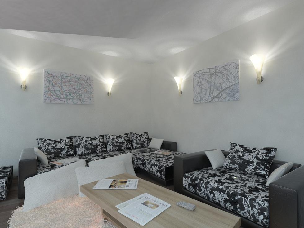 wohnzimmer braun beige:Bilder – 3D Interieur Wohnzimmer Braun-Beige 2