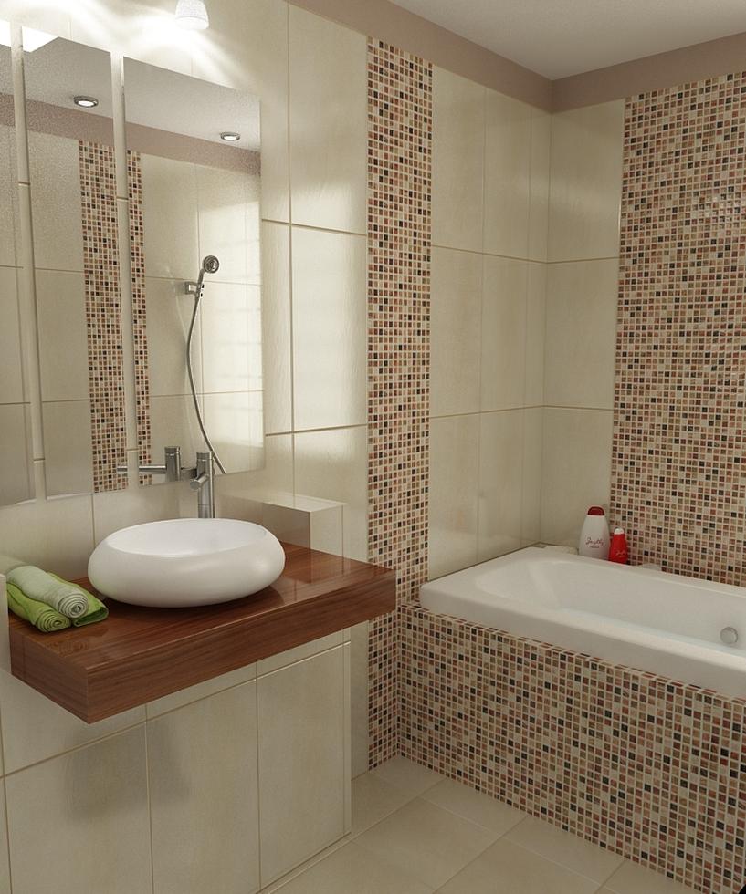 3D Interieur Badezimmer Braun Beige Weiß