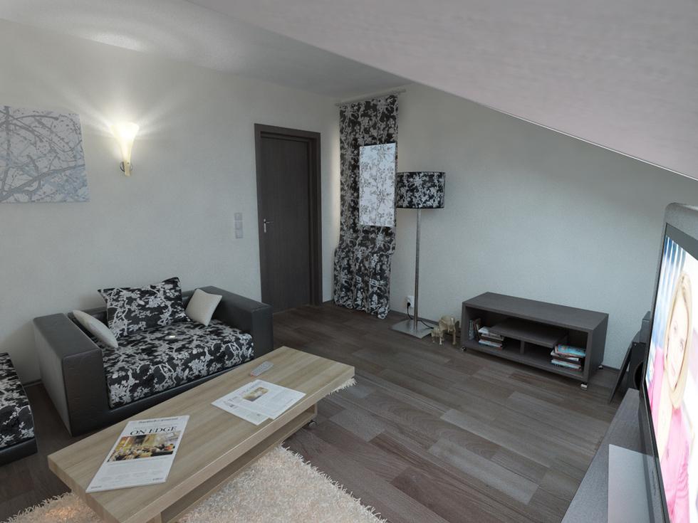 Bilder - 3D Interieur Wohnzimmer Braun-Beige 1