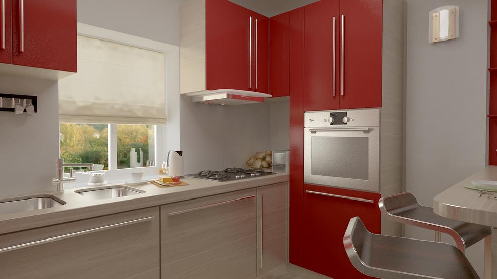 bilder 3d interieur k che rot beige 1. Black Bedroom Furniture Sets. Home Design Ideas