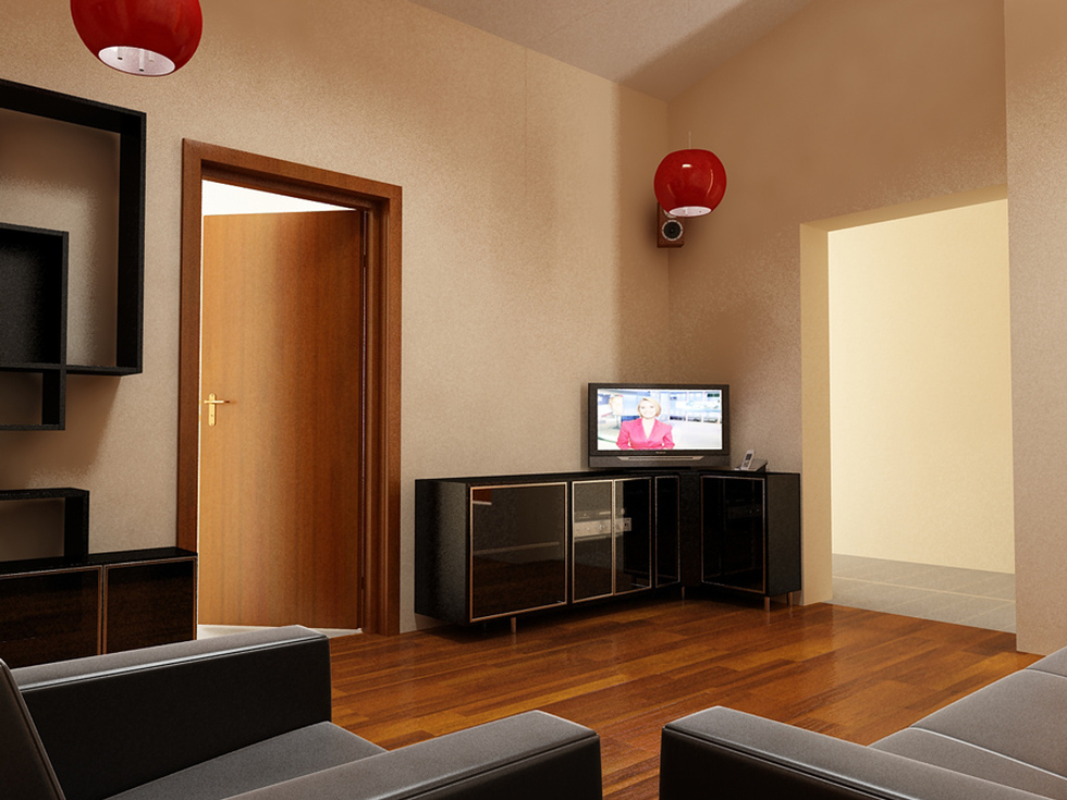 Wohnzimmer schwarz weis braun  Bilder - 3D Interieur Wohnzimmer Braun-Schwarz 'Casa David' 2