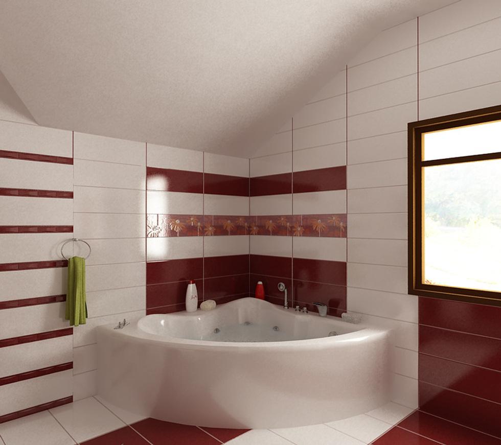 bilder - 3d interieur badezimmer rot-weiß 'baie ral arnisal' 11, Badezimmer ideen