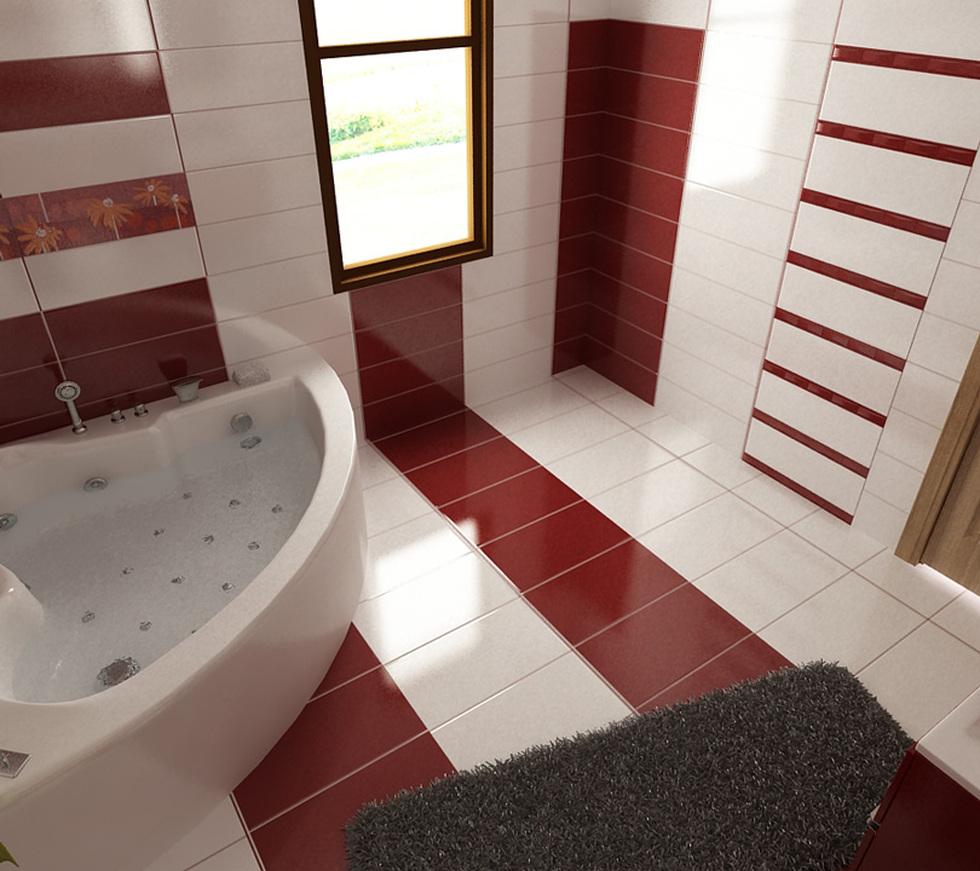 bilder - 3d interieur badezimmer rot-weiß 'baie ral arnisal' 2, Badezimmer ideen