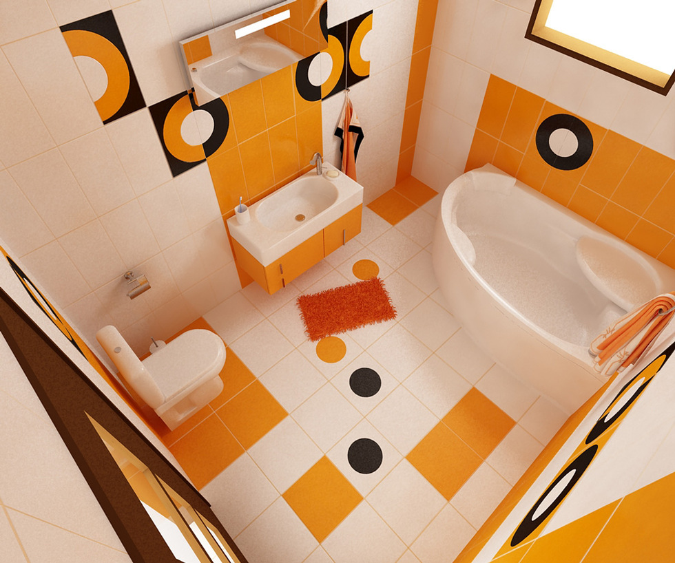 bilder - 3d interieur badezimmer orange-schwarz 'baie biosfarm' 4