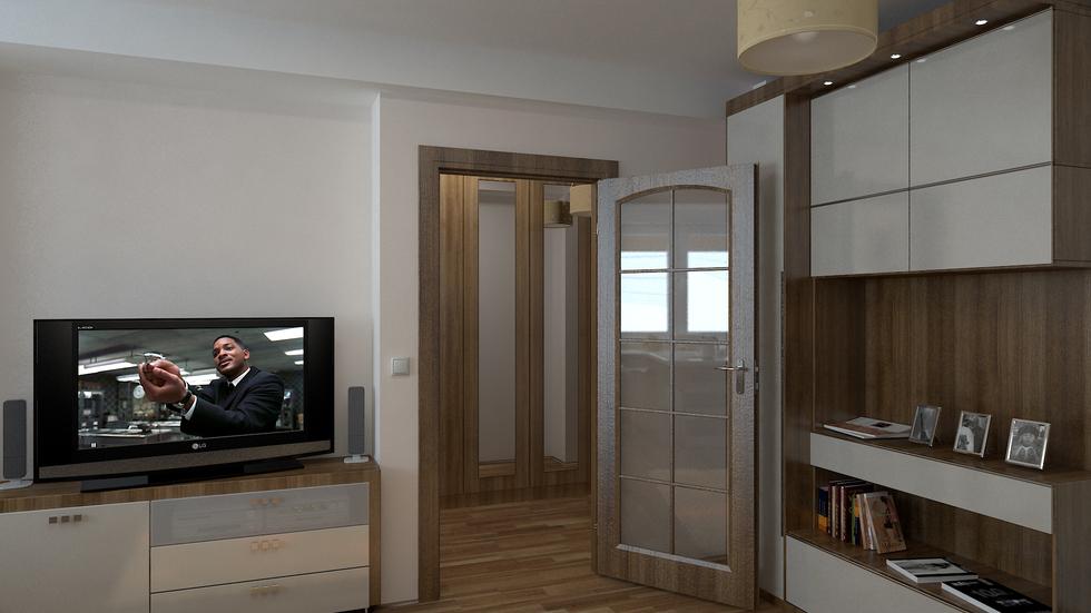 Bilder - 3D Interieur Wohnzimmer Braun-Weiß 1