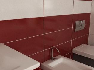 3D Interieur Badezimmer Rot-Weiß \\\
