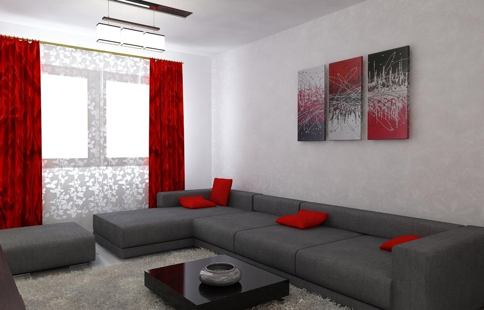 Bilder - 3D Interieur Wohnzimmer Rot-Grau 6