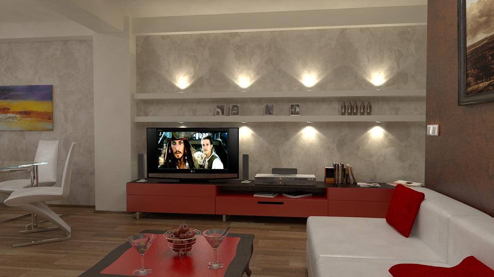 rot wohnzimmer:Bilder – 3D Interieur Wohnzimmer Rot-Weiß 1