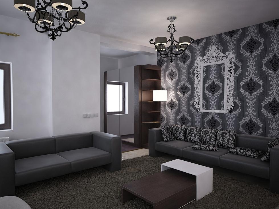 Bilder - 3D Interieur Wohnzimmer Schwarz-Weiß 'Valea Lupului' 1