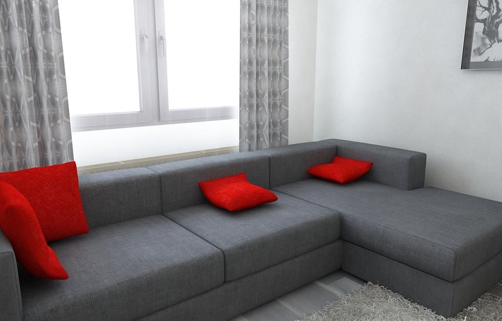 Wohnzimmer Grau Weis Rot