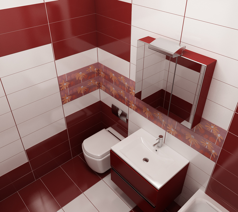 Bilder - 3D Interieur Badezimmer Rot-Weiß Val Baie 1
