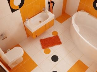 Bilder Ansehen. 3D Interieur Badezimmer Orange Schwarz ...