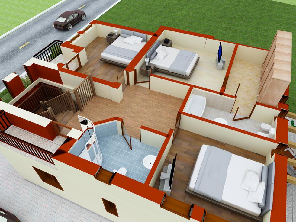 Bilder 3d plan einfamilienhaus rot beige 39 cartier galaxy 39 3 for Einfamilienhaus plan