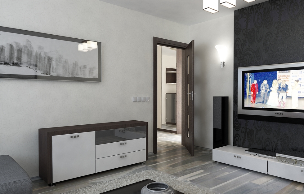 Bilder - 3D Interieur Wohnzimmer Rot-Grau 9