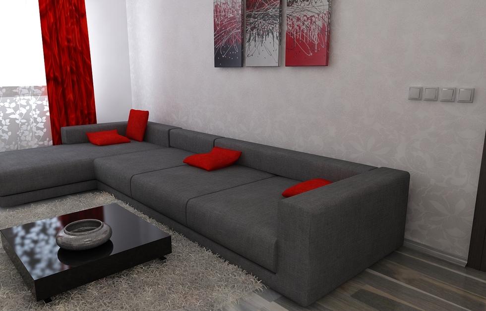 Bilder - 3D Interieur Wohnzimmer Rot-Grau 2