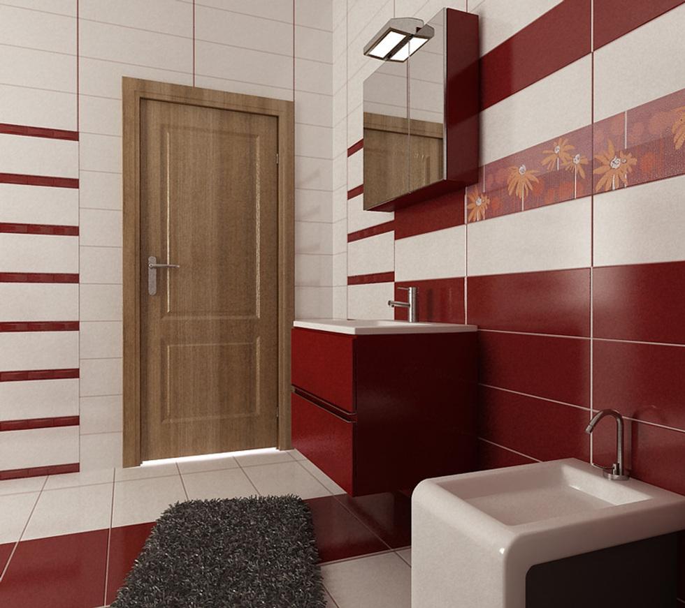 Bilder - 3D Interieur Badezimmer Rot-Weiß \'Baie Ral Arnisal\' 3