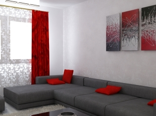 Bilder 3d Interieur Wohnzimmer Rot Grau 6