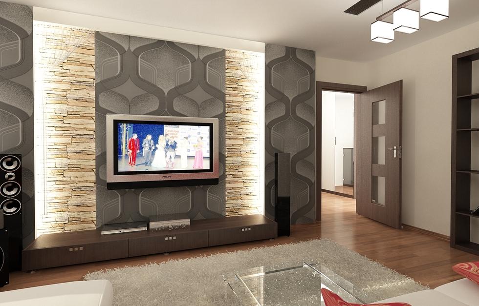 Bilder - 3D Interieur Wohnzimmer Grau-Gold 3