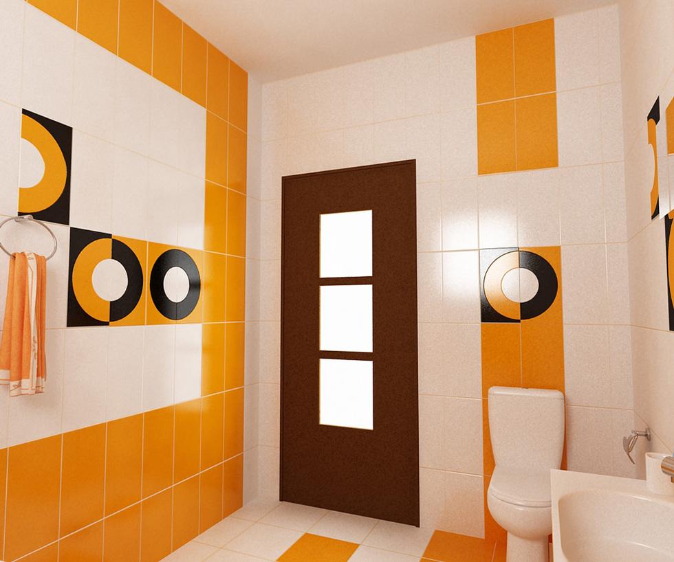 Bilder 3d Interieur Badezimmer Orange Schwarz Baie Biosfarm 2