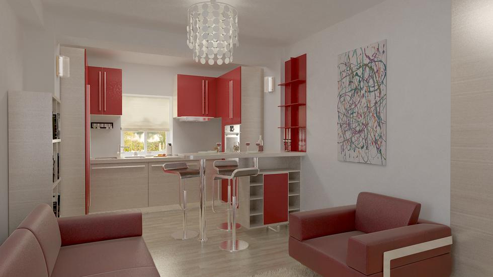 bilder 3d interieur k che rot beige 3. Black Bedroom Furniture Sets. Home Design Ideas