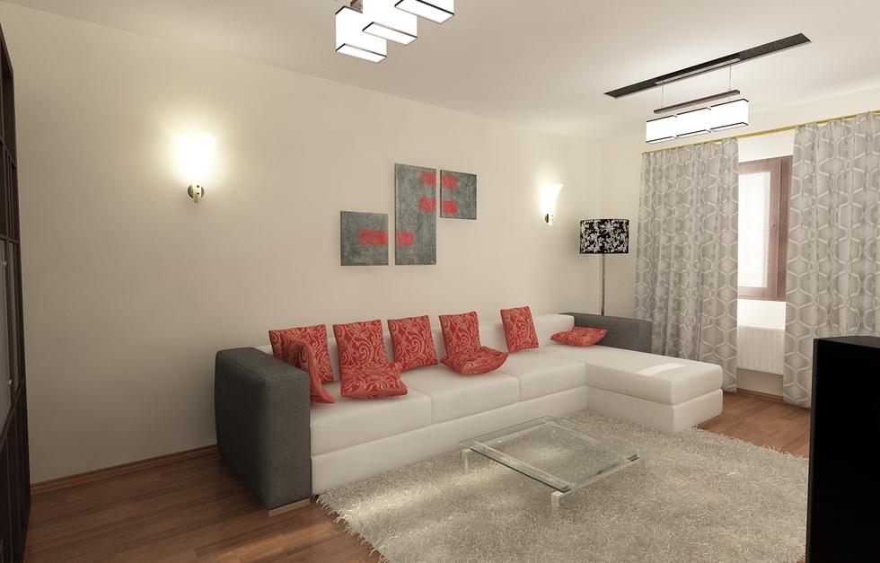 3D Interieur Wohnzimmer Grau Gold 1