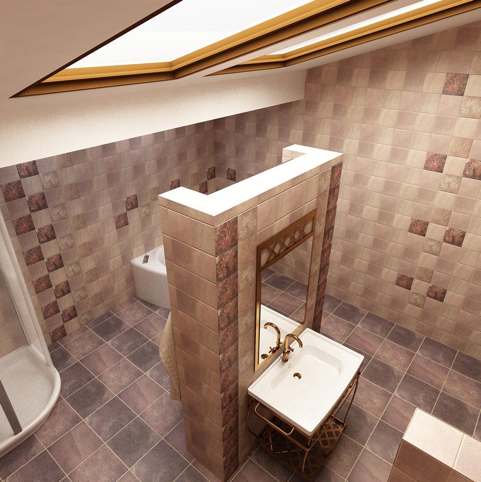 3D Interieur Badezimmer Braun Weiß
